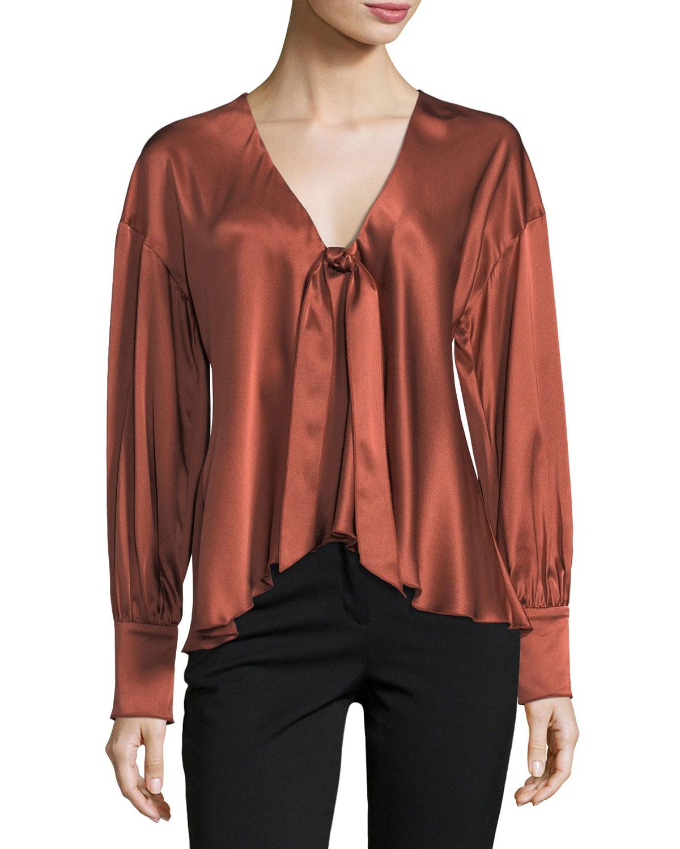 092949661d8464 cinq a sept Lentz Tie-Front Long-Sleeve Silk Satin Blouse