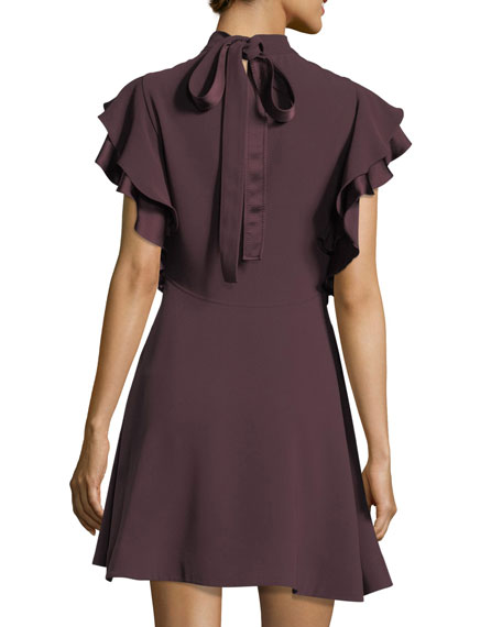 Reina Mock-Neck Ruffled Sleeves Crepe Mini Dress