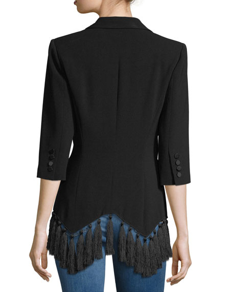 Violetta Two-Button Crepe Blazer w/ Tassel Hem