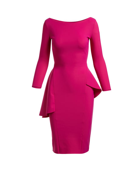 Agape Boat-Neck Long-Sleeve Peplum Cocktail Dress