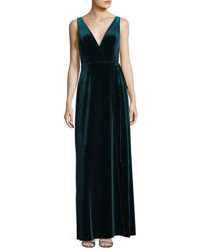 Velvet V-Neck Wrap Evening Gown