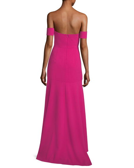 Off-the-Shoulder Crepe High-Low Evening Gown