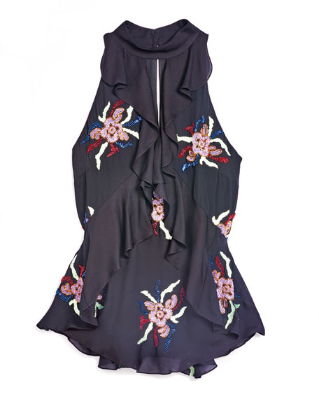 Moma Floral-Print Sleeveless Silk Top