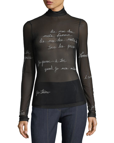 cinq a sept Bisous Embroidered Mesh Turtleneck Top
