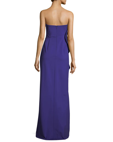 Strapless Side-Drape Bustier Evening Gown