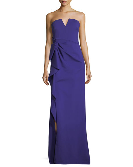 Aidan Mattox Strapless Side-Drape Bustier Evening Gown