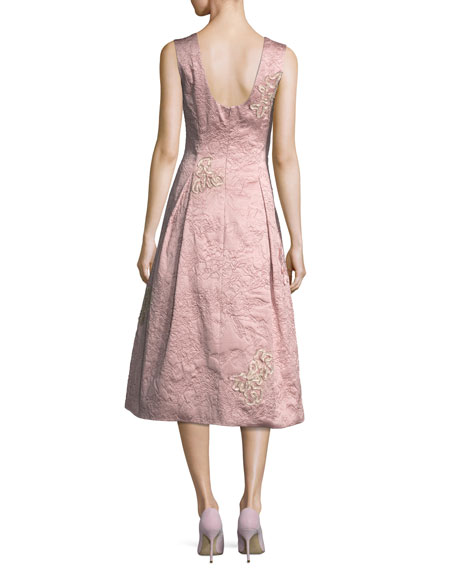 Sleeveless Soutache Brocade Midi Cocktail Dress
