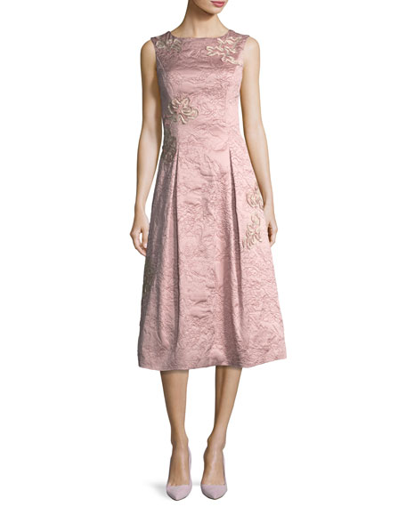 Aidan Mattox Sleeveless Soutache Brocade Midi Cocktail Dress