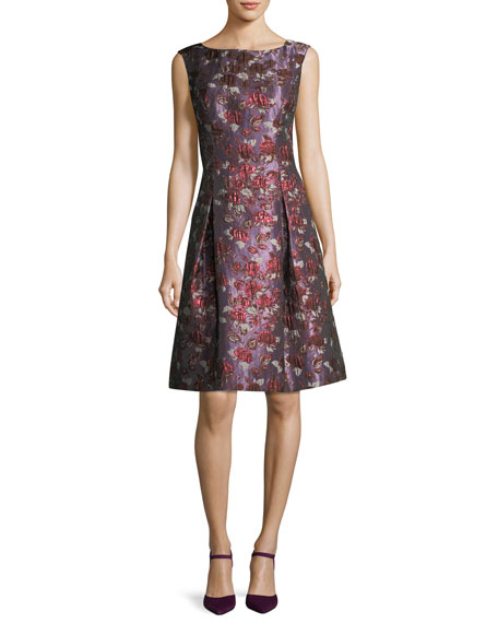 Aidan Mattox Bateau-Neck Sleeveless Fit-and-Flare Cocktail Dress