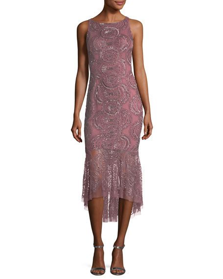 Sleeveless Circle-Beaded Sheath Cocktail Dress w/ Flounce Hem