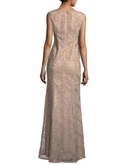V-Neck Sleeveless Soutache Column Evening Gown