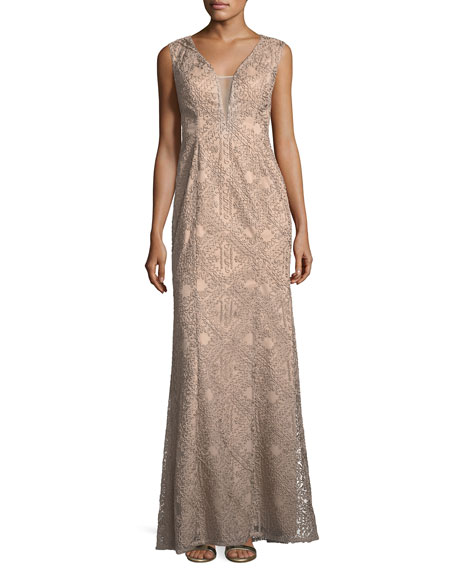 Aidan Mattox V-Neck Sleeveless Soutache Column Evening Gown