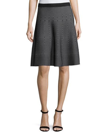 Carmen by Carmen Marc Valvo Geometric-Print Flare Skirt