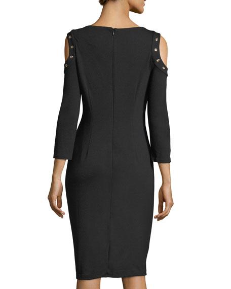 Cold-Shoulder Ponté Midi Dress