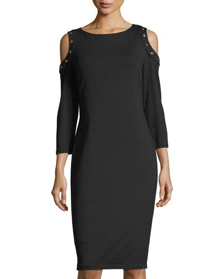 Carmen by Carmen Marc Valvo Cold-Shoulder Ponté Midi