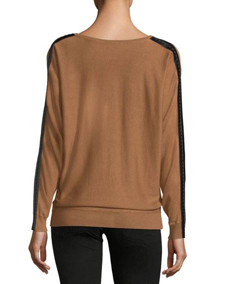 Lace-Trim Dolman-Sleeve Sweater