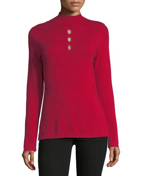 Mock-Neck Cutout Sweater