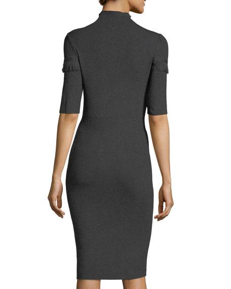 Mock-Neck Fringe-Trim Midi Dress