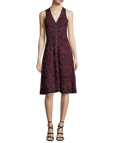 Birdseye Jacquard Fit-and-Flare Dress