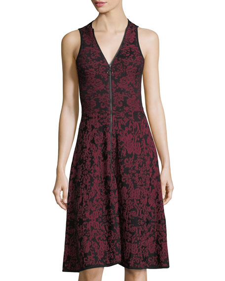 Birdseye Jacquard Fit-and-Flare Dress