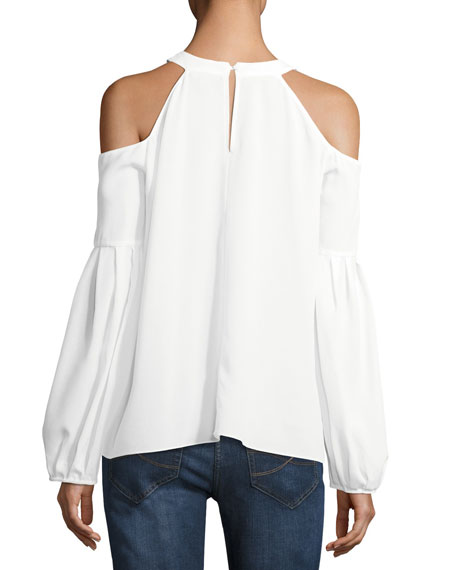 Crepe de Chine Cold-Shoulder Top