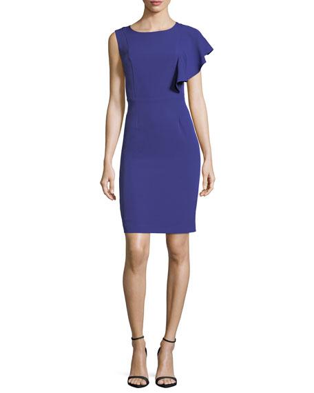 Flutter-Sleeve Crepe Dress