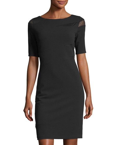 Mesh-Inset Sheath Dress