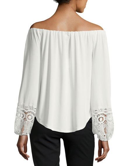 Off-the-Shoulder Knit Top w/ Lace