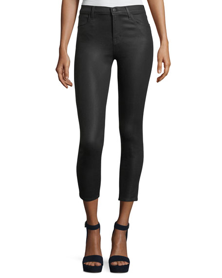 J Brand Alana High-Rise Cropped Coated Skinny Pants