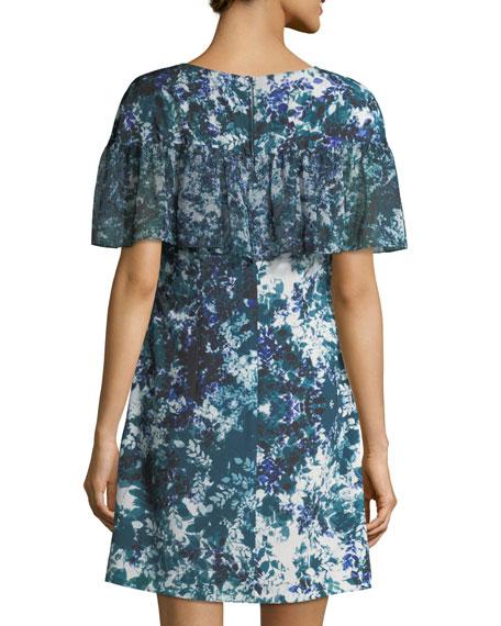 Floral-Print Ruffle Crepe de Chine Dress