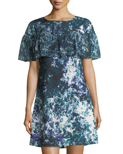 bfc9b7885171 Floral-Print Ruffle Crepe de Chine Dress