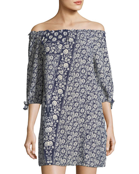 Floral-Print Off-the-Shoulder Minidress