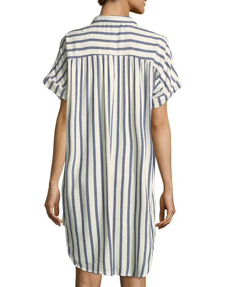 Sailor Striped Dolman-Sleeve Shirtdress