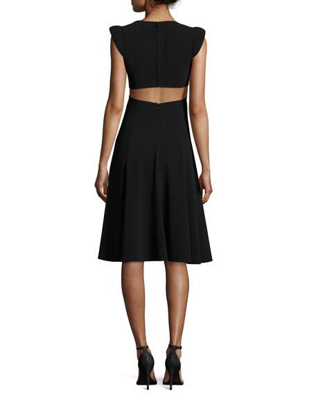 Cutout Cap-Sleeve V-Neck Crepe Dress