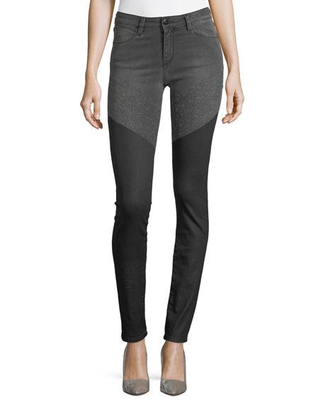 Brockenbow Emma Mid-Rise Wax Skinny-Leg Jeans