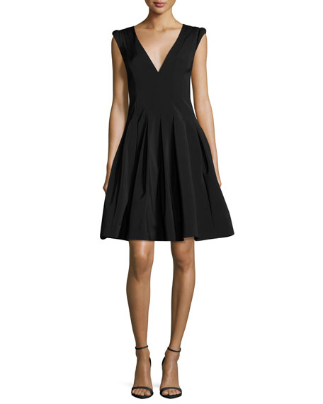 99d7e0a53396 HALSTON HERITAGE V-NECK CAP-SLEEVE FIT-AND-FLARE COCKTAIL DRESS ...