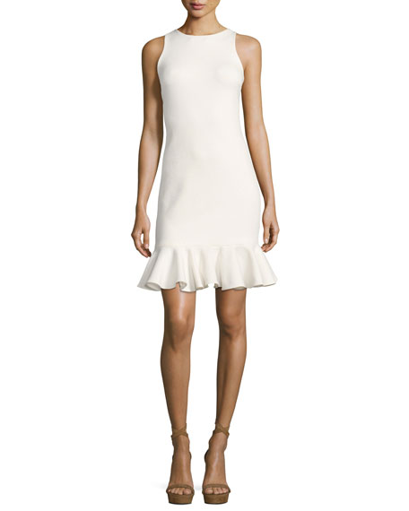 Halston Heritage Sleeveless High-Neck Fitted Shimmer Cocktail