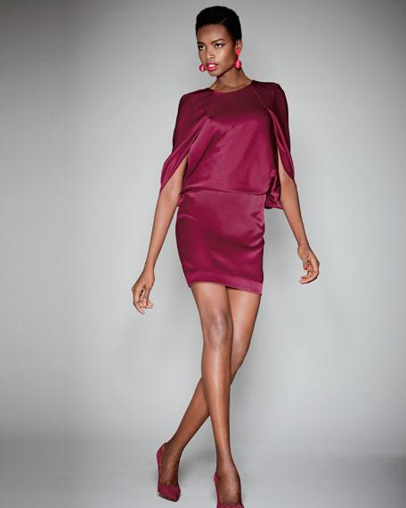 Cape Round-Neck Satin Cocktail Dress