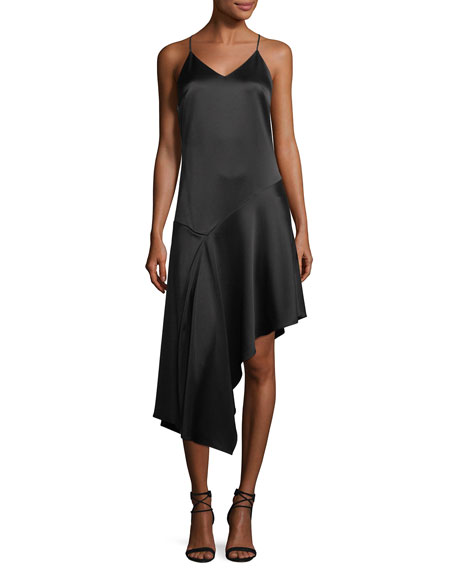 Halston Heritage V-Neck Racerback Sleeveless Satin Slip Cocktail