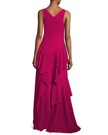 Sleeveless V-Neck Ruffled Flounce Evening Gown