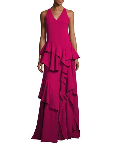 Halston Heritage Sleeveless V-Neck Ruffled Flounce Evening Gown