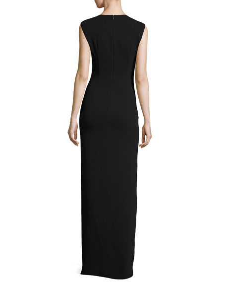 Cap-Sleeve V-Neck Ruched-Front Column Evening Gown
