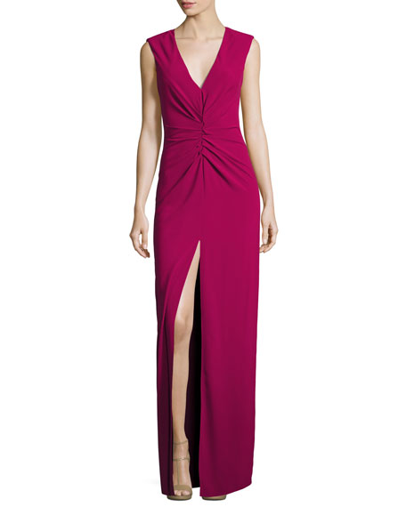 Halston Heritage Cap-Sleeve V-Neck Ruched-Front Column Evening