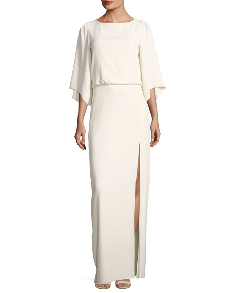 Halston Heritage Bateau-Neck Blouson Evening Gown w/ Embroidery