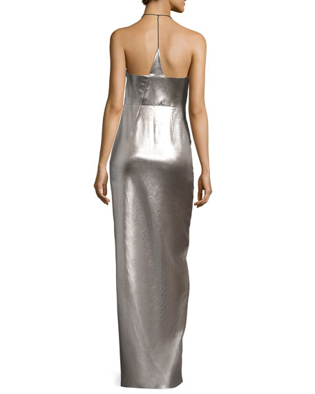 Plunging Halter-Neck Asymmetric Metallic Evening Gown
