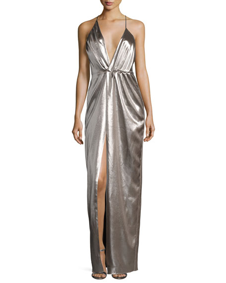 Halston Heritage Plunging Halter-Neck Asymmetric Metallic Evening