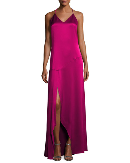 Halston Heritage Sleeveless Halter Satin Slip Evening Gown