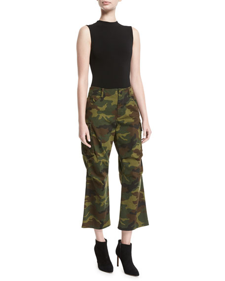 Johnsie High-Rise Camo Cropped Cargo Pants