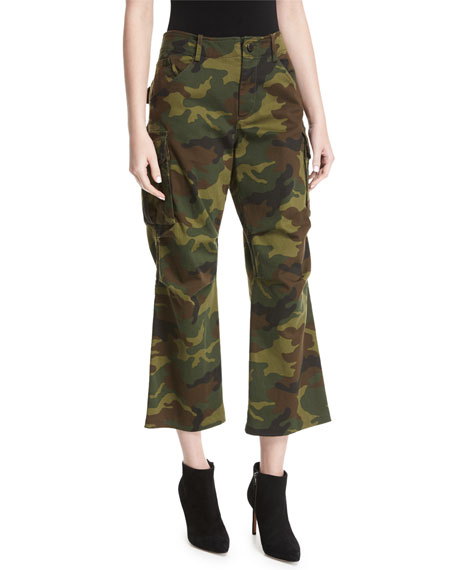 Alice + Olivia Johnsie High-Rise Camo Cropped Cargo