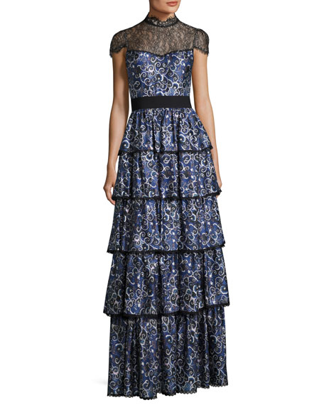 Alice + Olivia McKee Mock-Neck Tiered Printed Satin